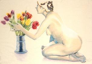 Nude attending to tulips