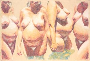 Four pregnant nudes standing in water