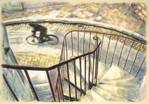 Cyclist from the stairs