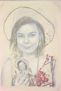 Nanna Bryndis in a hat with self portrait