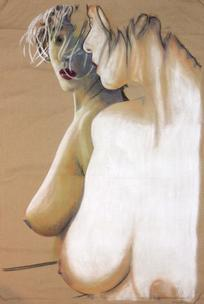 Nude on brown fabric