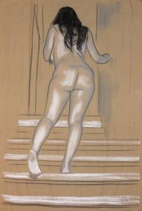 Nude ascending stairs on brown fabric
