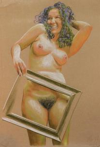 Nude with picture frame on brown fabric