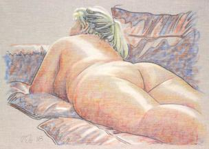 Curvy lying nude on grey upholstery fabric